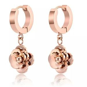 Rose gold plated Camellia dangle earrings.